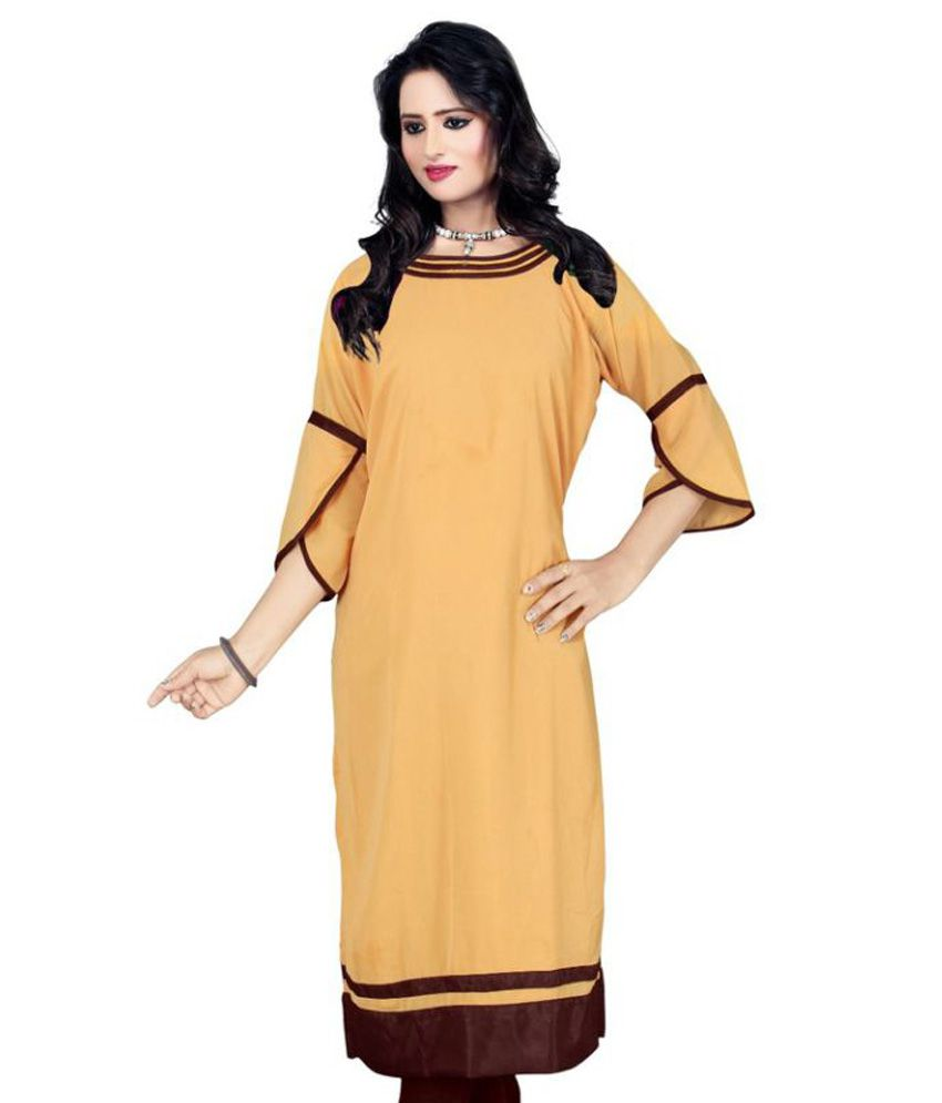 Kayaa Fashion Beige Georgette Straight Kurti