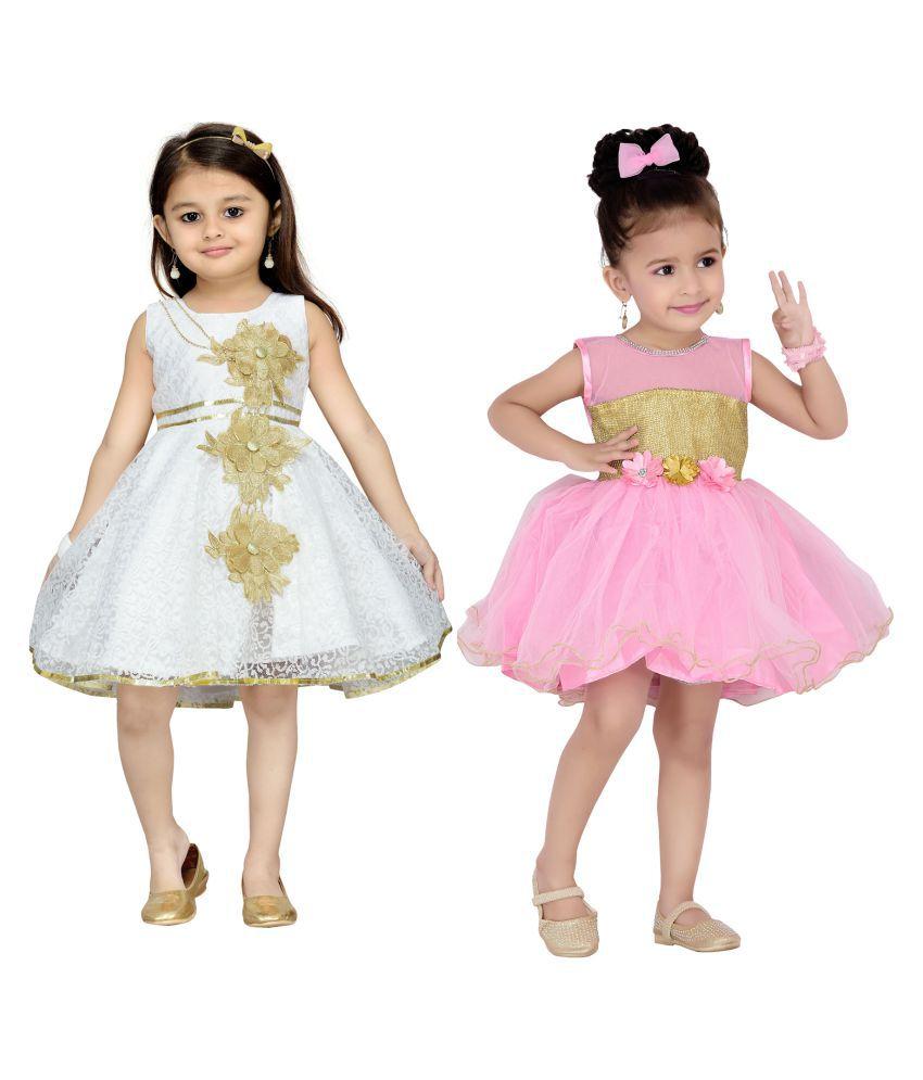 61897e0b2 Aarika Girls Self Design Premium Net Birthday Special Frock Combo of ...