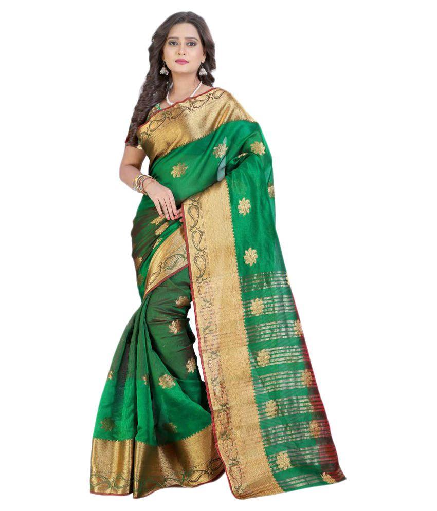 Shoperholic Green Banarasi Silk Saree