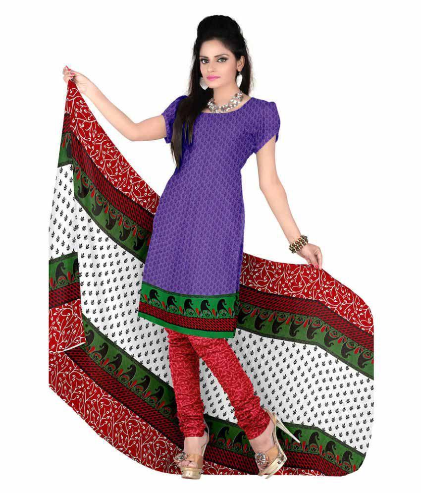 Snapshopee Purple Crepe Dress Material