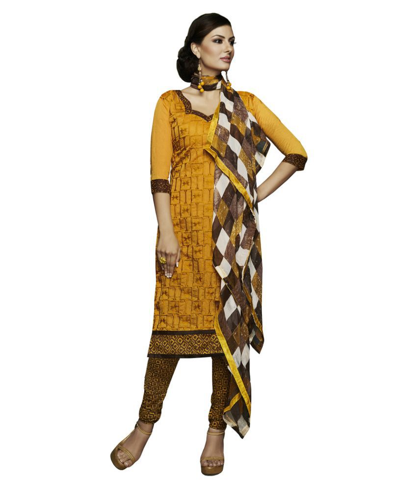 Snapshopee Yellow Chanderi Dress Material