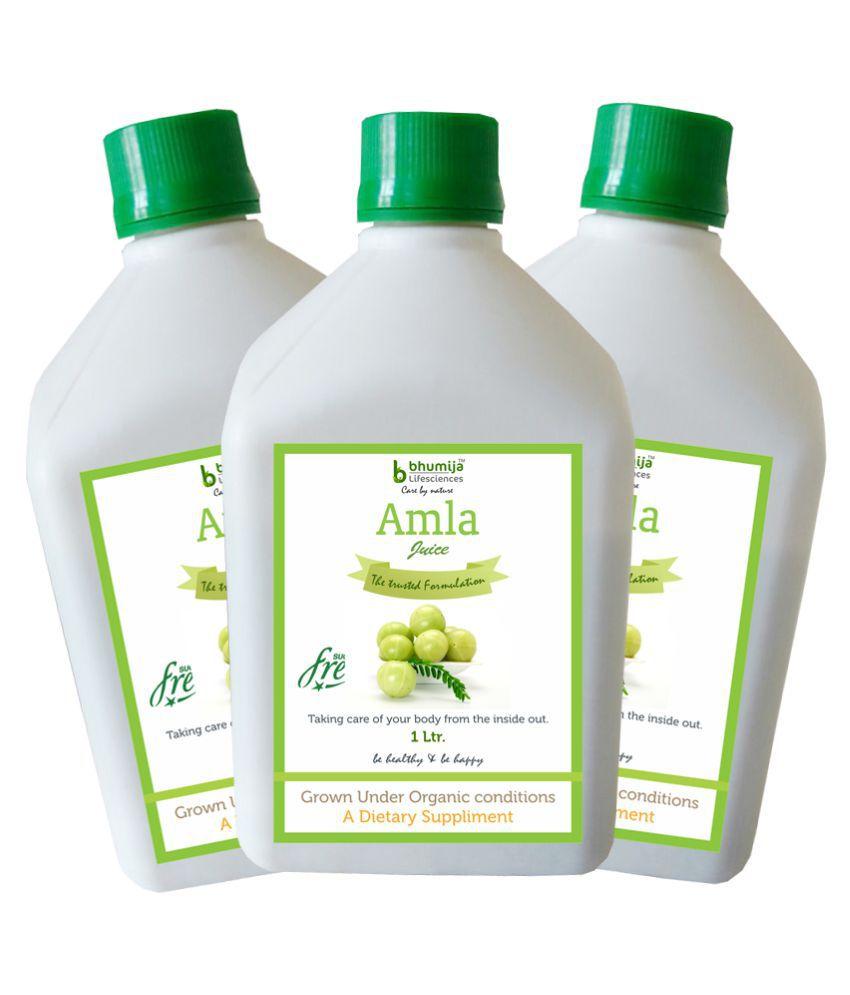 Bhumija Lifesciences Amla Juice 1 Ltr. Health Drink Liquid 3 l Pack of 3