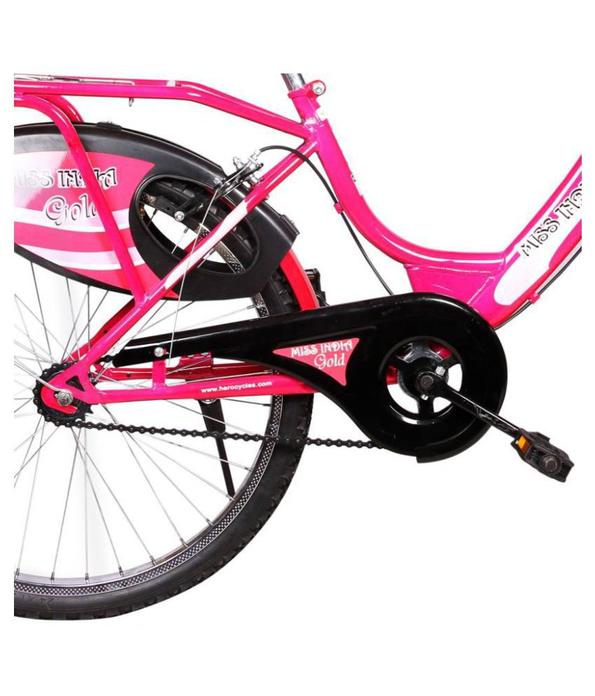 fec810298c9 ... Hero Miss India Gold 24T Pink 60.96 cm(24) Comfort bike Bicycle Adult  Bicycles ...