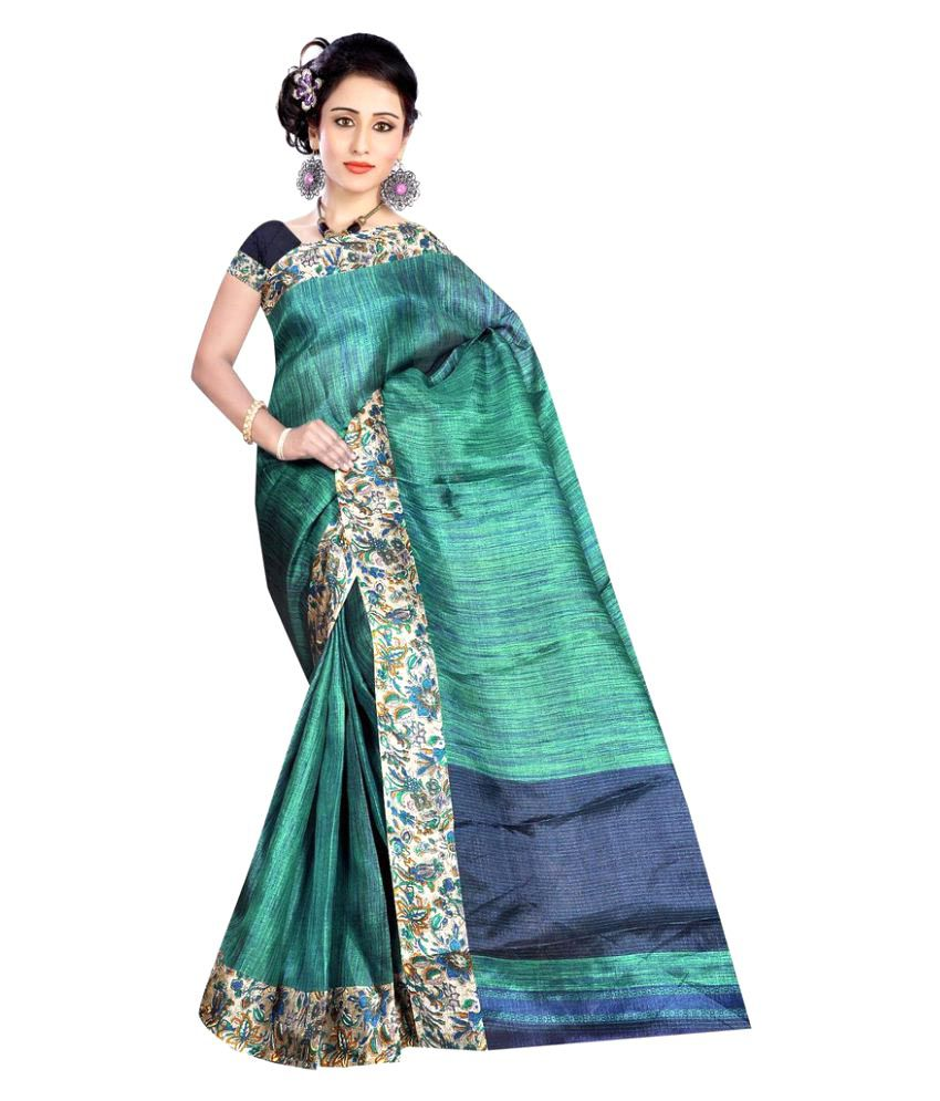 Gaurangi Creation Green Tussar Silk Saree