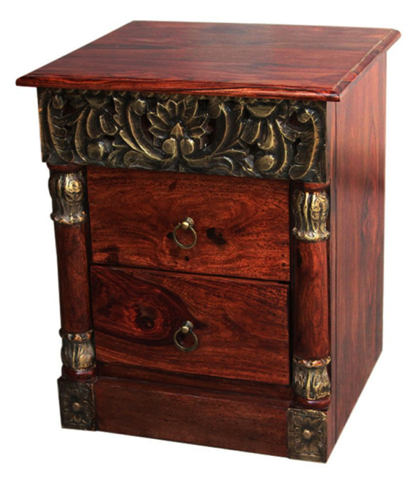 Inhouz Brass Carving Solid Wood Bedside Table