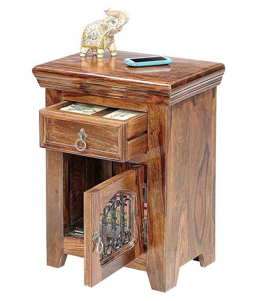Inhouz Jali Solid Wood Bedside Table