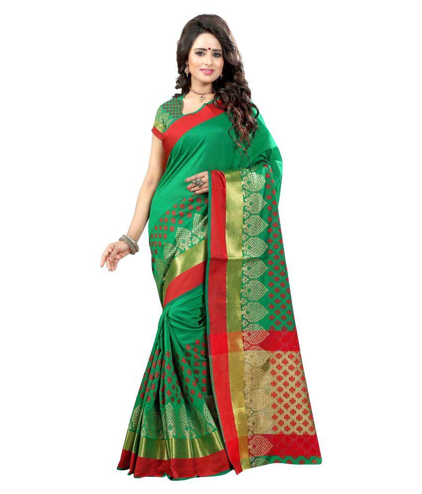 Shree Sondarya Bandhani Green Polycotton Saree