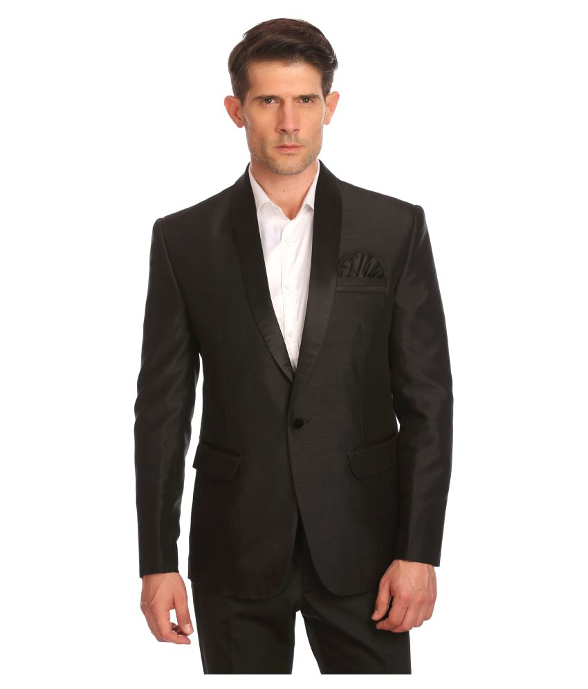 Wintage Black Solid Festive Blazers