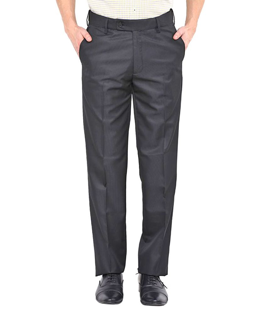 Arrow Grey Slim Flat Trousers