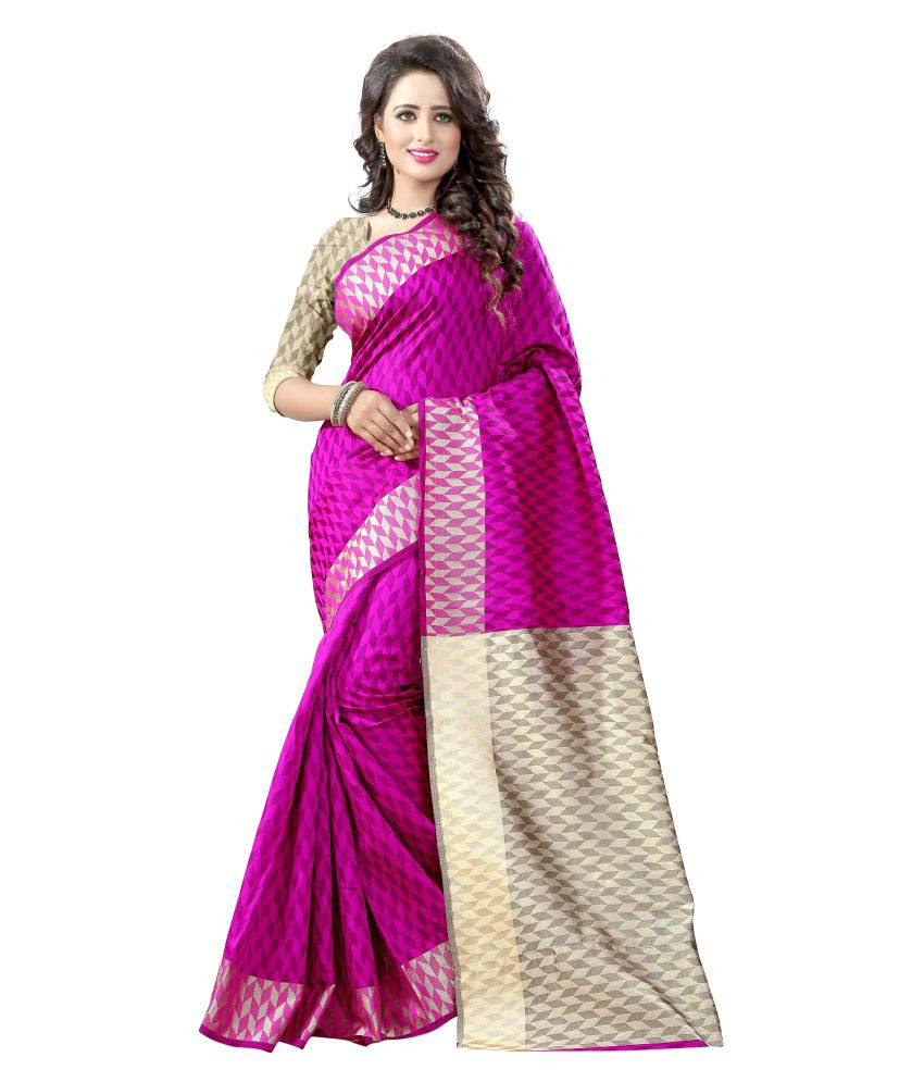 Shree Sondarya Bandhani Pink Cotton Silk Saree