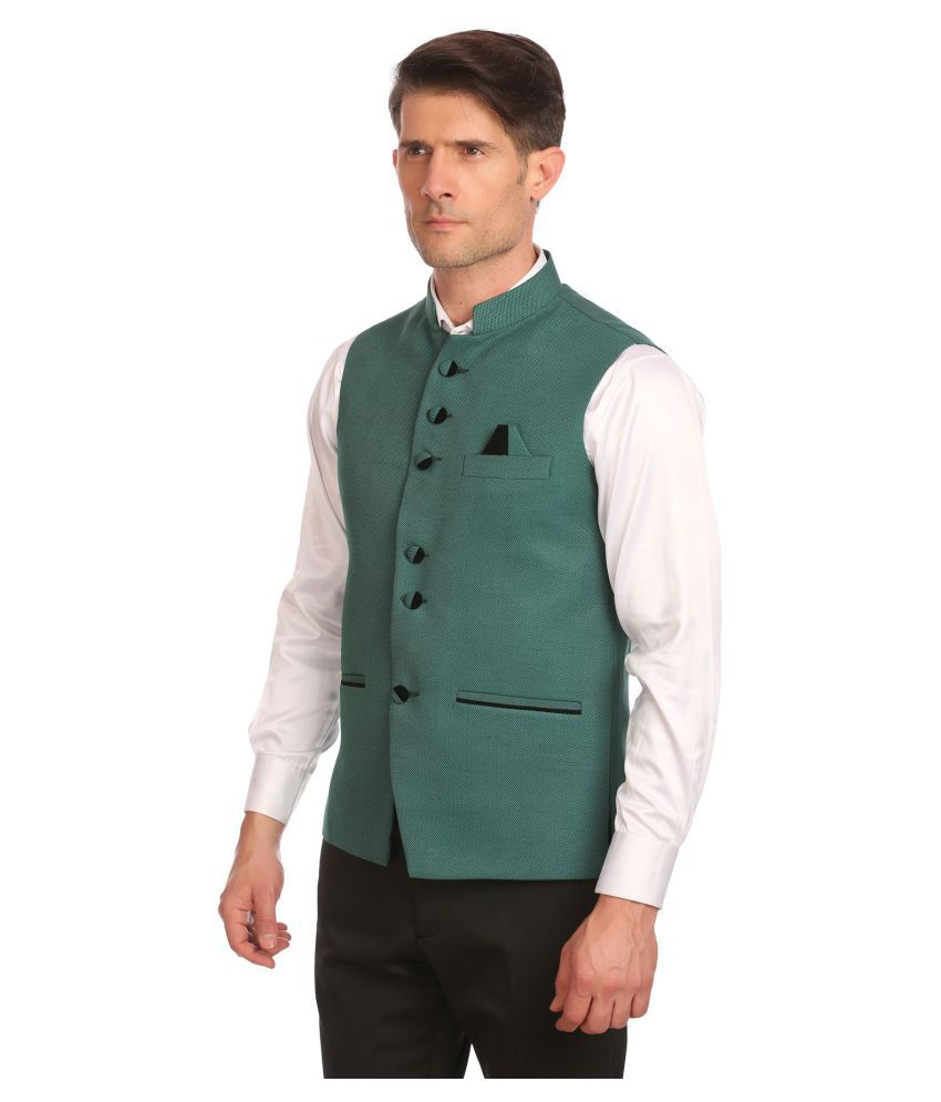Wintage Green Solid festive Waistcoats