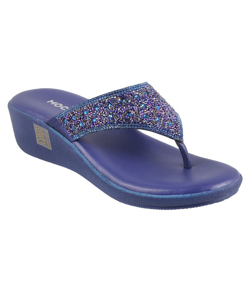Mochi BLUE Wedges Heels