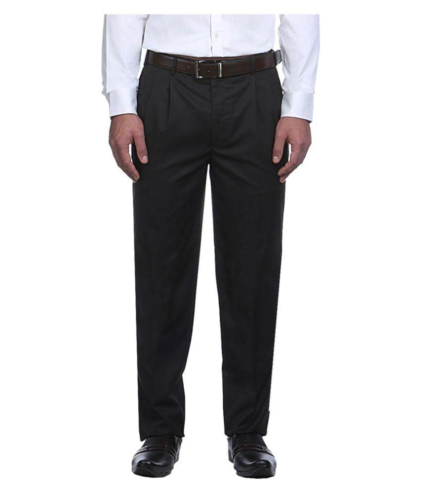 Raymond Black Regular Flat Trousers