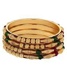 Zeneme Designer Golden Bangle Set for Women