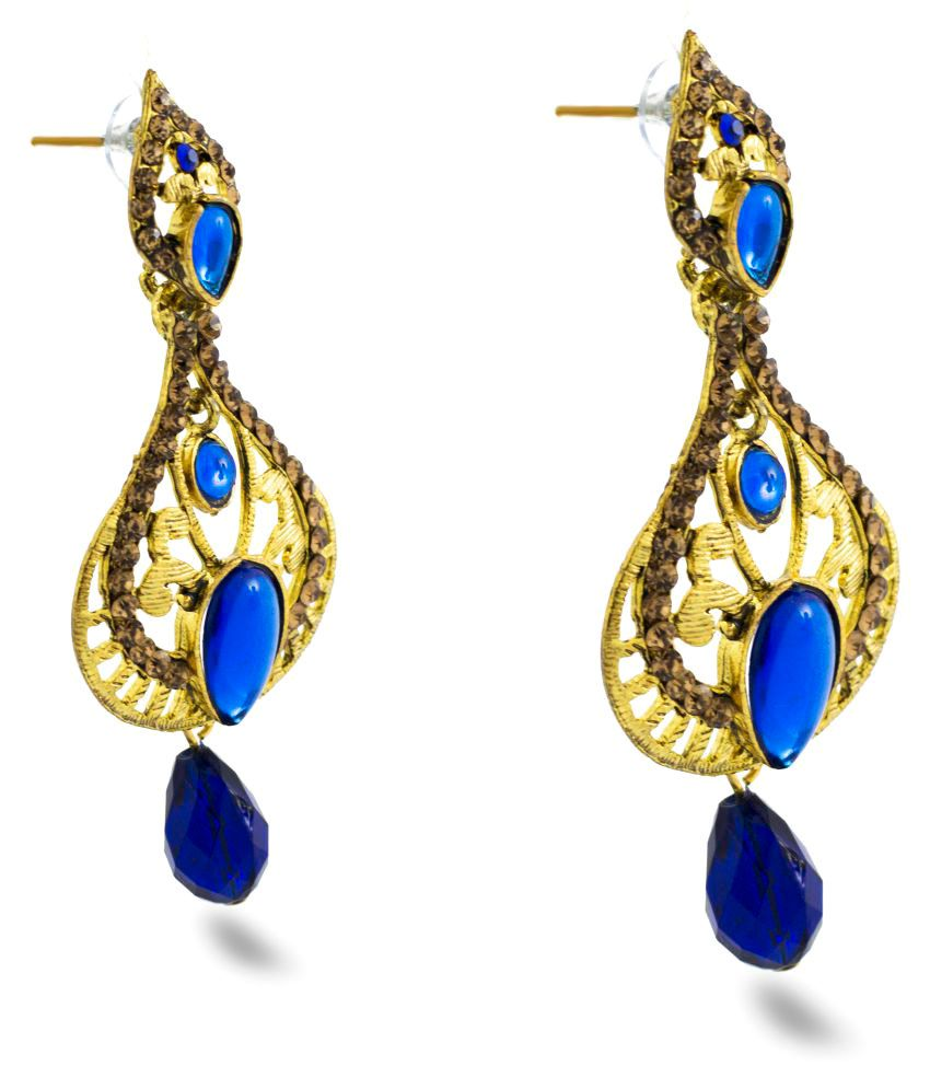 Three Shades Golden Alloy Drop Earrings