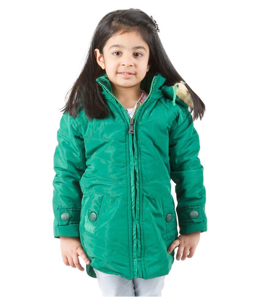 Burdy Green Bomber Jacket for Girls