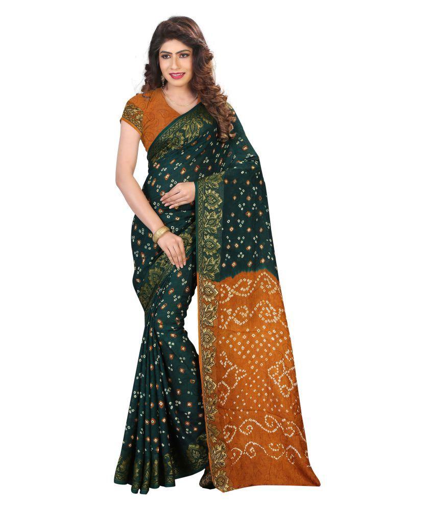 Shree Sondarya Bandhani Green Jacquard Saree
