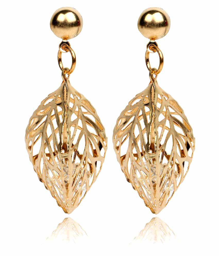Krupam Golden Alloy Hanging Earrings
