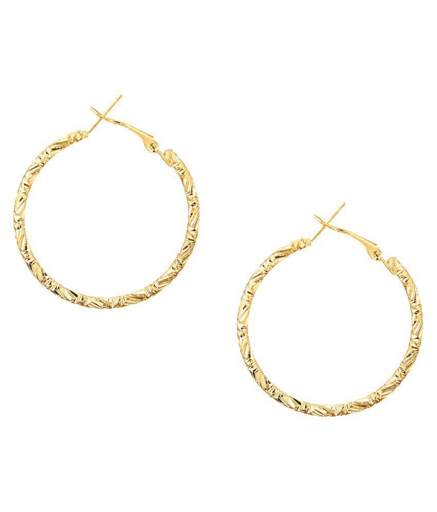 Shining Jewel Golden Hoop Earrings