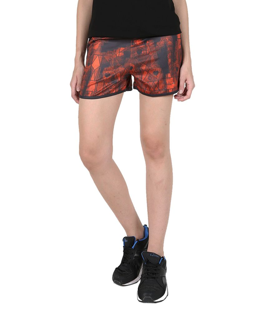 Navy & Orange Printed Running Shorts