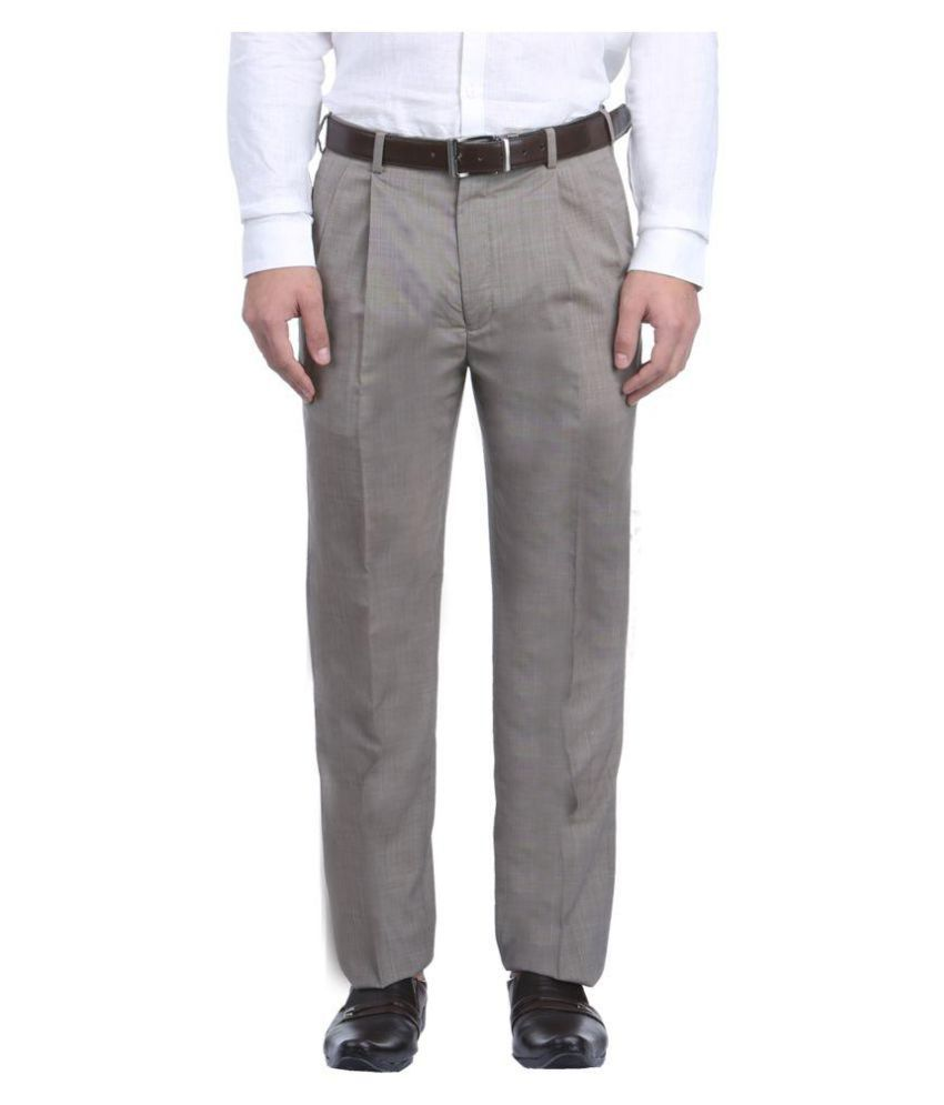 Park Avenue Grey Regular Flat Trousers