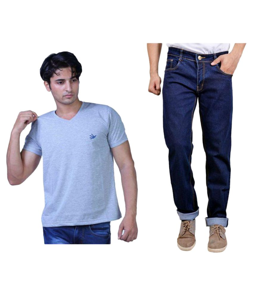 Finger's Blue Regular Fit Jeans with T-Shirt