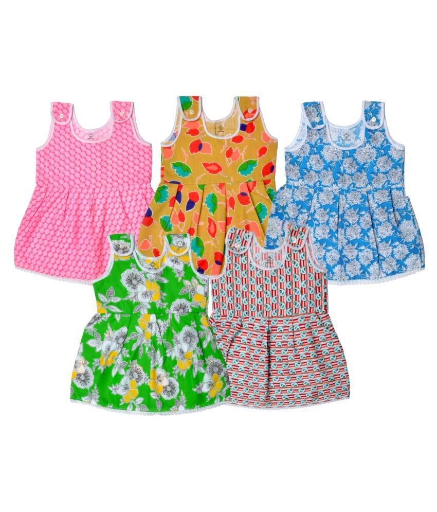 4e406645b Sathiyas Multicolor Cotton Baby Girls Dresses - Pack of 5 - Buy Sathiyas  Multicolor Cotton Baby Girls Dresses - Pack of 5 Online at Low Price -  Snapdeal
