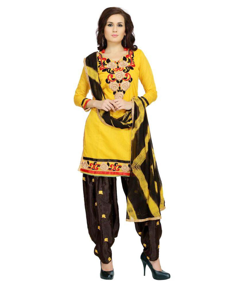 Tulsi Trendz Yellow Chanderi Dress Material