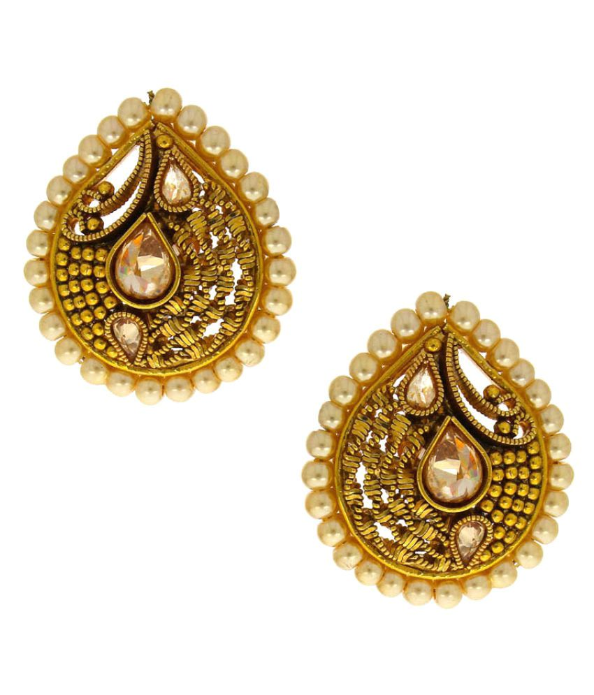 Anuradha Art Golden Finish Droplet Shape Traditional Earrings For Women/Girls
