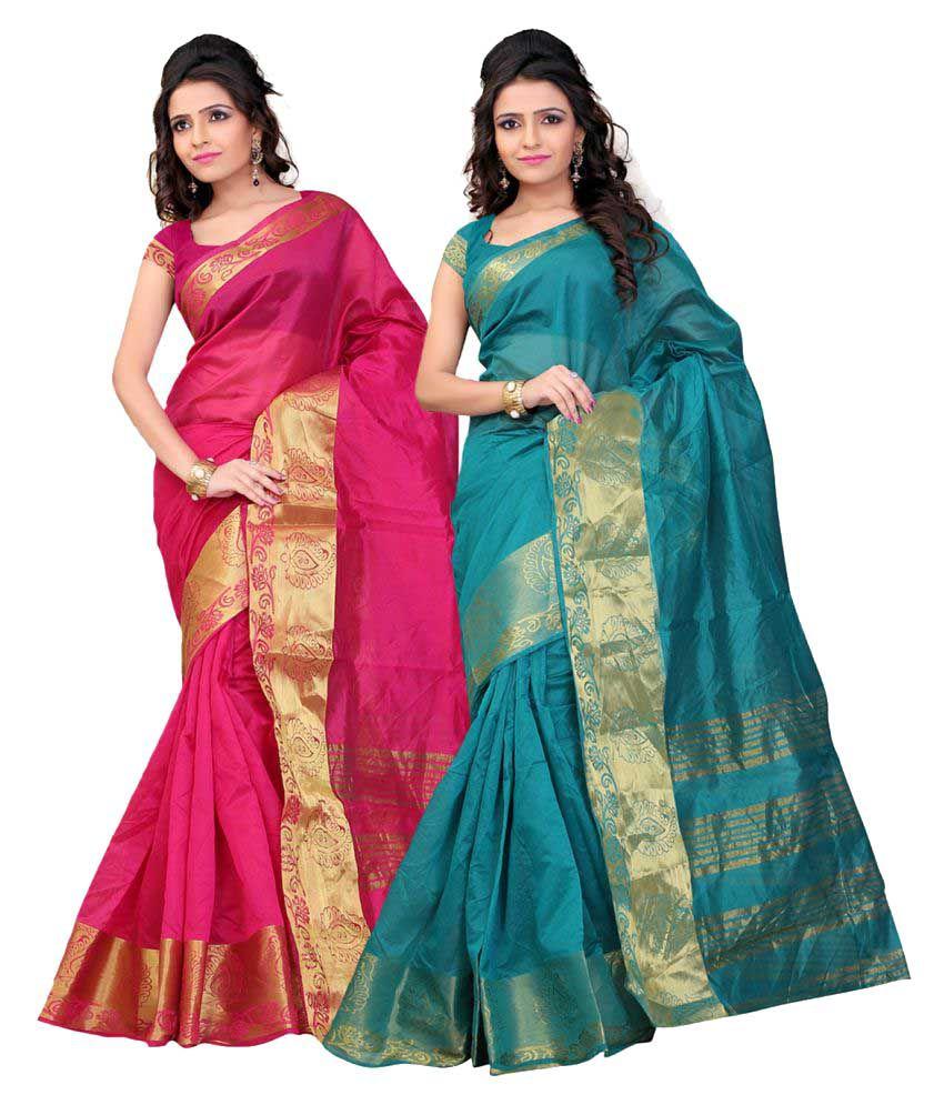 Ganga Shree Multicoloured Kanchipuram Saree Combos