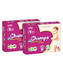 Champs High Absorbent Pant Style Diaper Large(48 Pieces) - Pack of 2