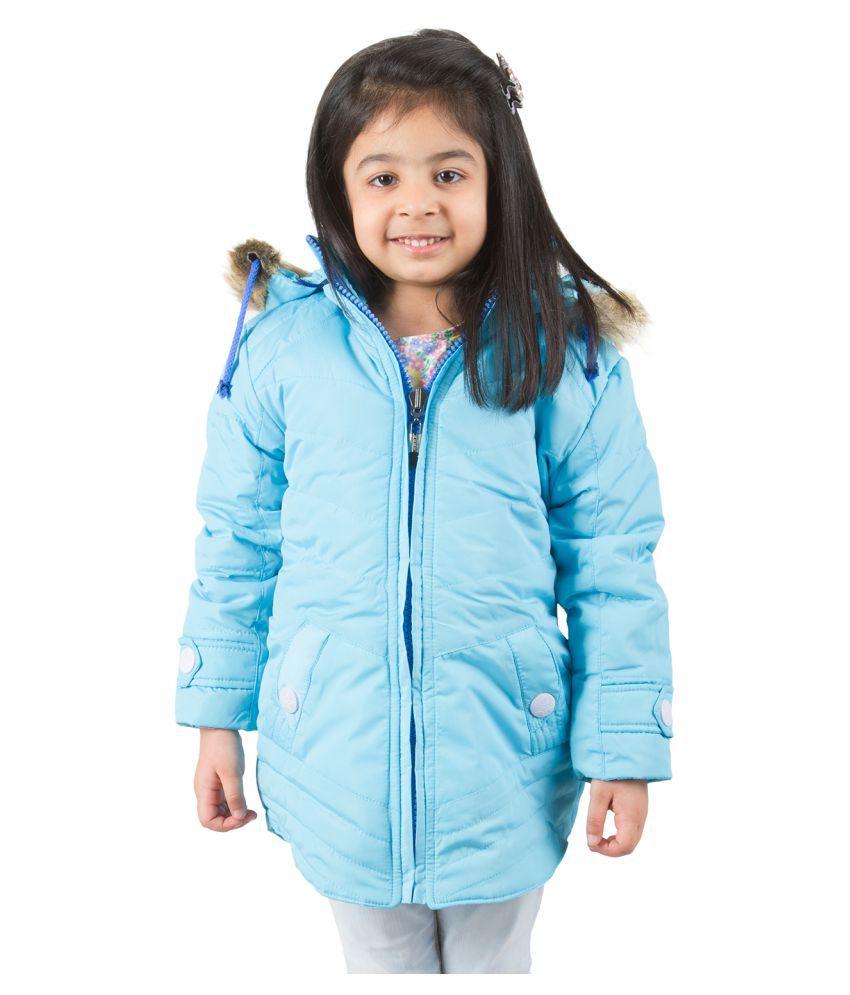 Burdy Light Blue Nylon Light Weight Jacket For Girls