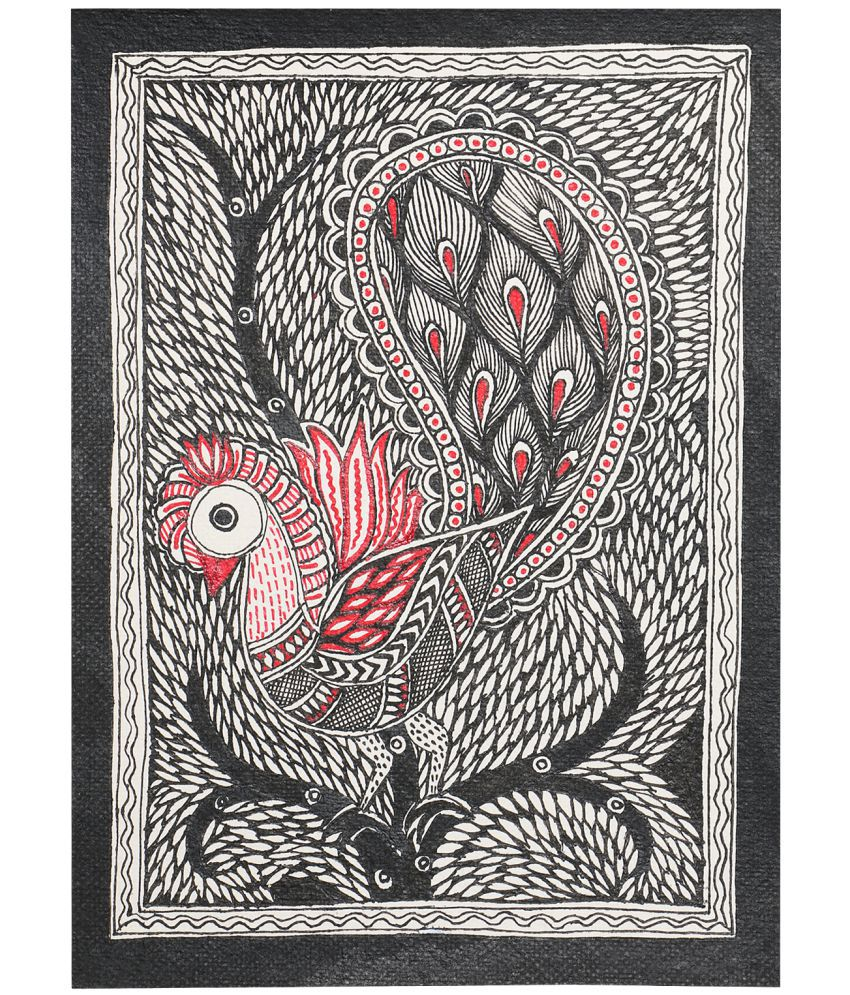 iMithila Madhubani Handmade Paper Painting Without Frame Single Piece