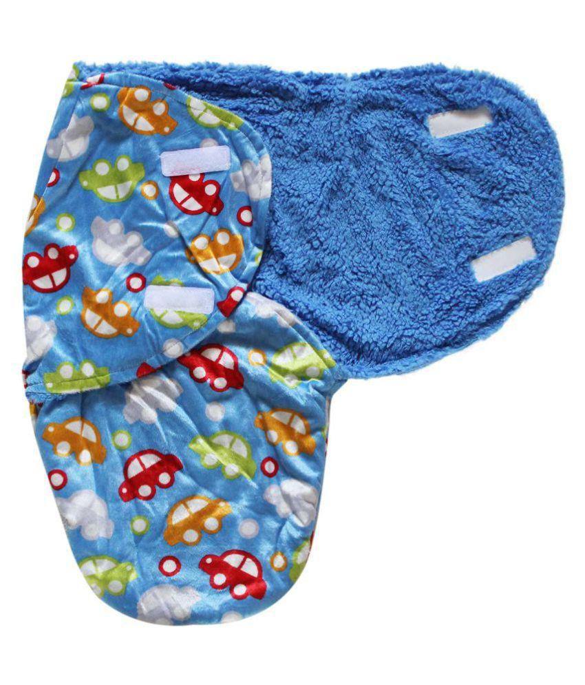 Wonderkids Blue Car Print Baby Swaddle Wrap