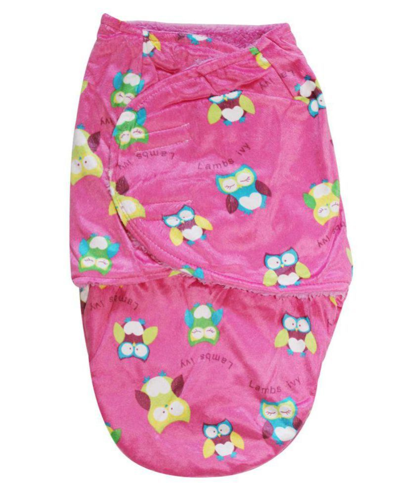 Wonderkids Pink Owl Print Baby Wrap