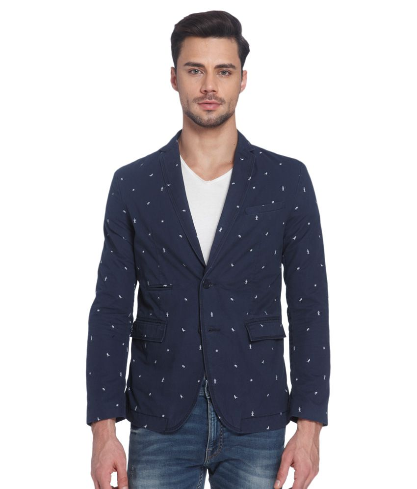 Jack & Jones Blue Printed Casual Blazers