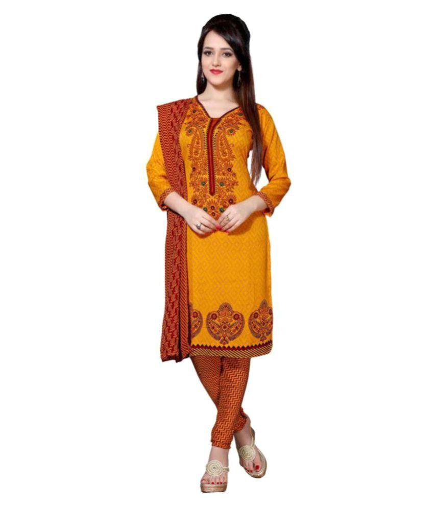 Saree Mall Yellow Crepe Dress Material