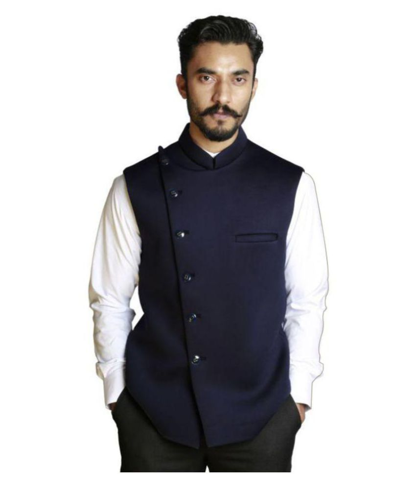 Fusion & Threads Navy Plain Formal Waistcoats