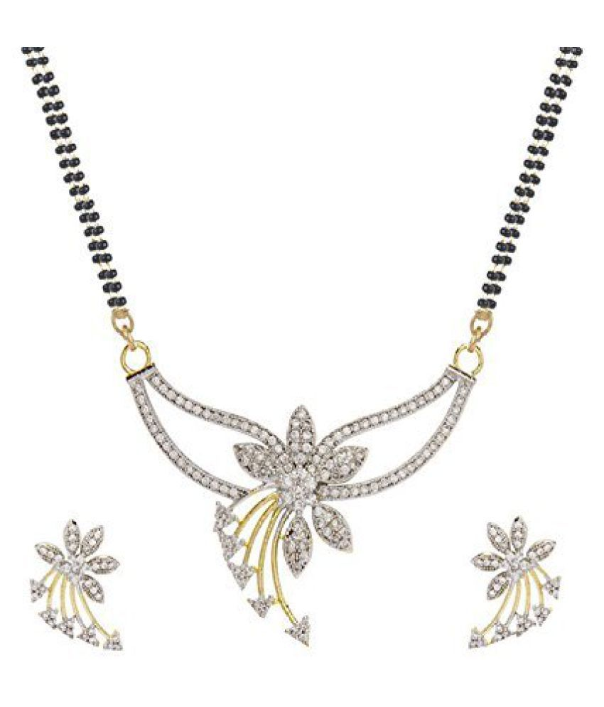 YouBella American Diamond Gold Plated Mangalsutra with Chain and Earrings