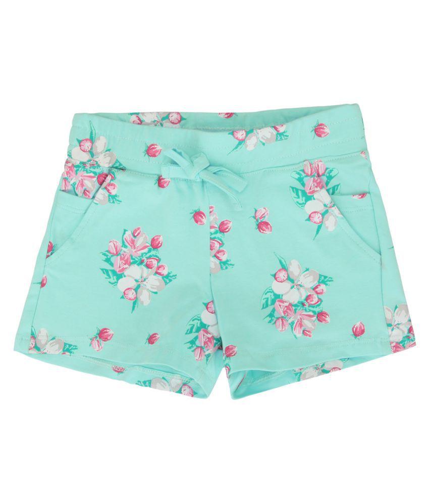 Eimoie Girls SeaGreen Printed Shorts