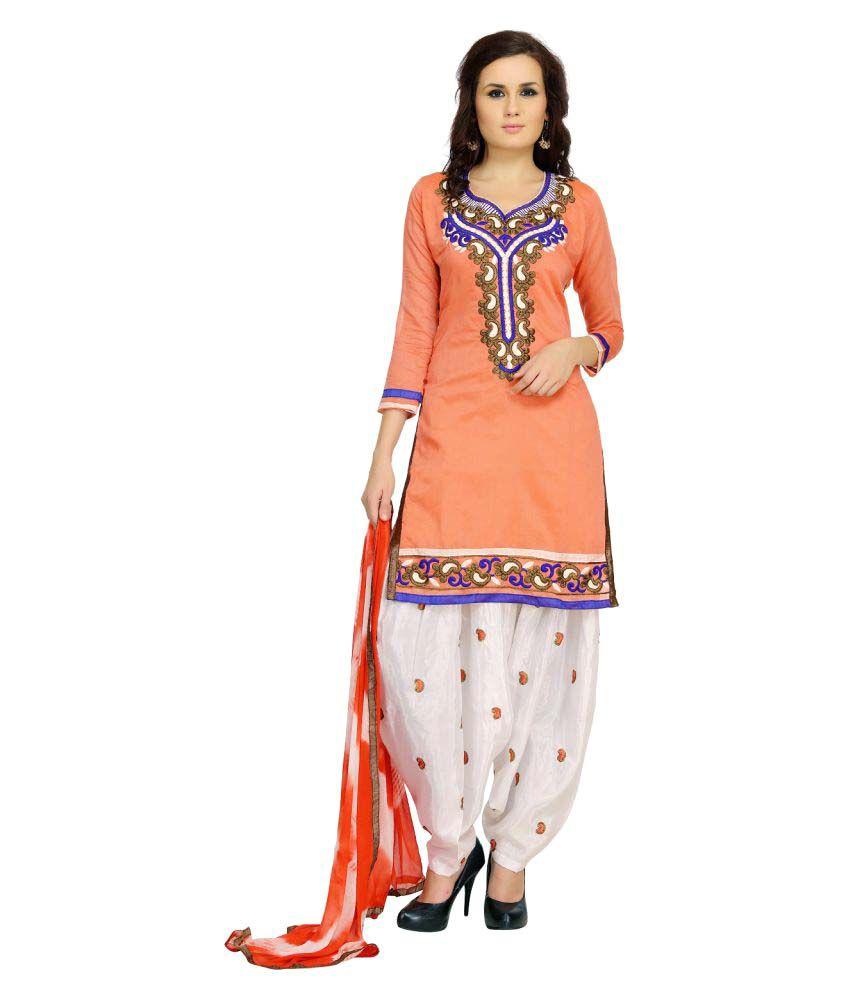 Tulsi Trendz Orange Chanderi Dress Material