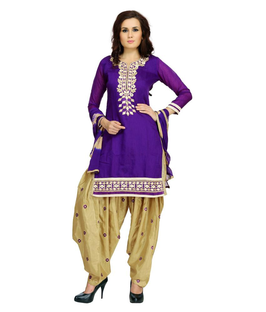 Tulsi Trendz Purple Chanderi Dress Material