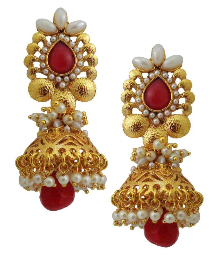 Lalso Golden Jhumka Earrings