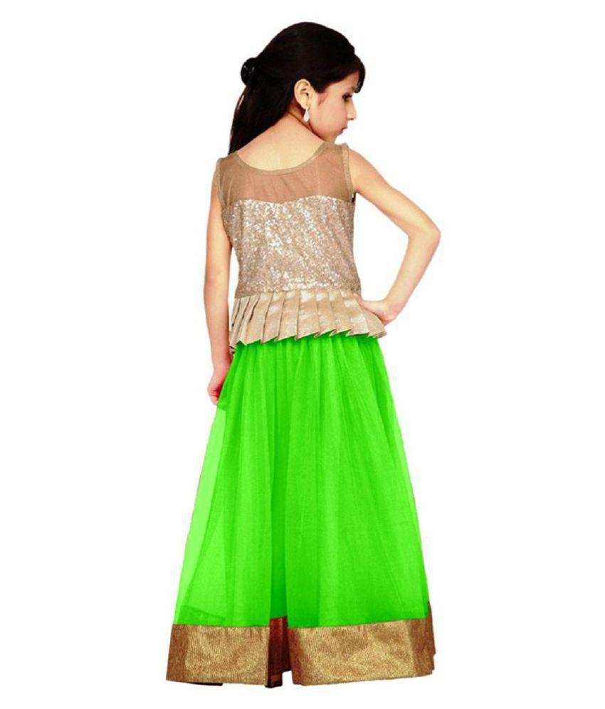 4bdc82e810 Satyam Fab Green Net Semi-Stitched Lehenga Choli Set - Buy Satyam ...