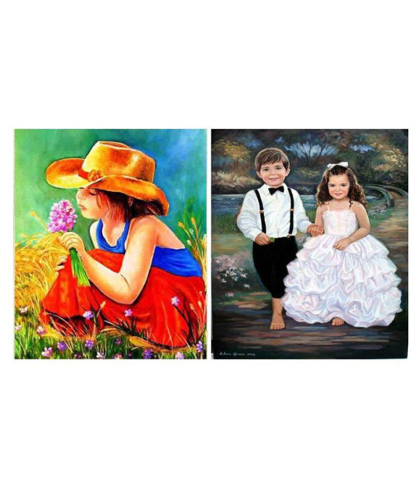 Vf Designer Fabric Painting Without Frame Set of 2
