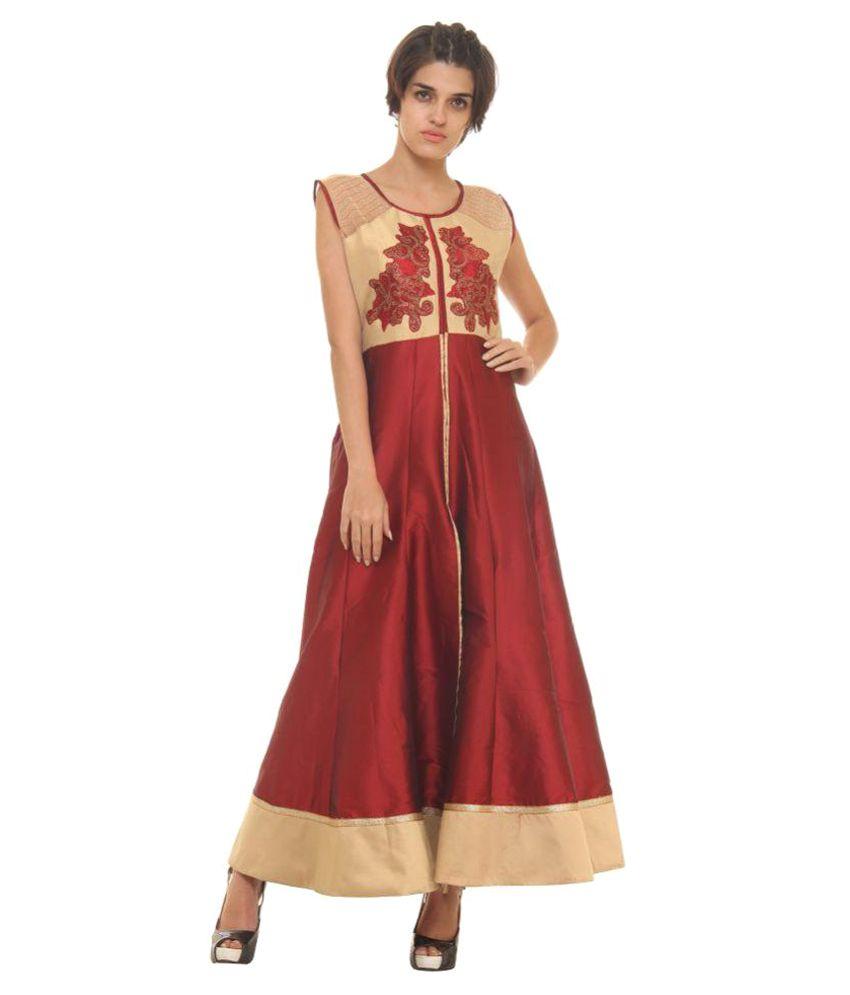 Dhavani Maroon Silk Anarkali Kurti