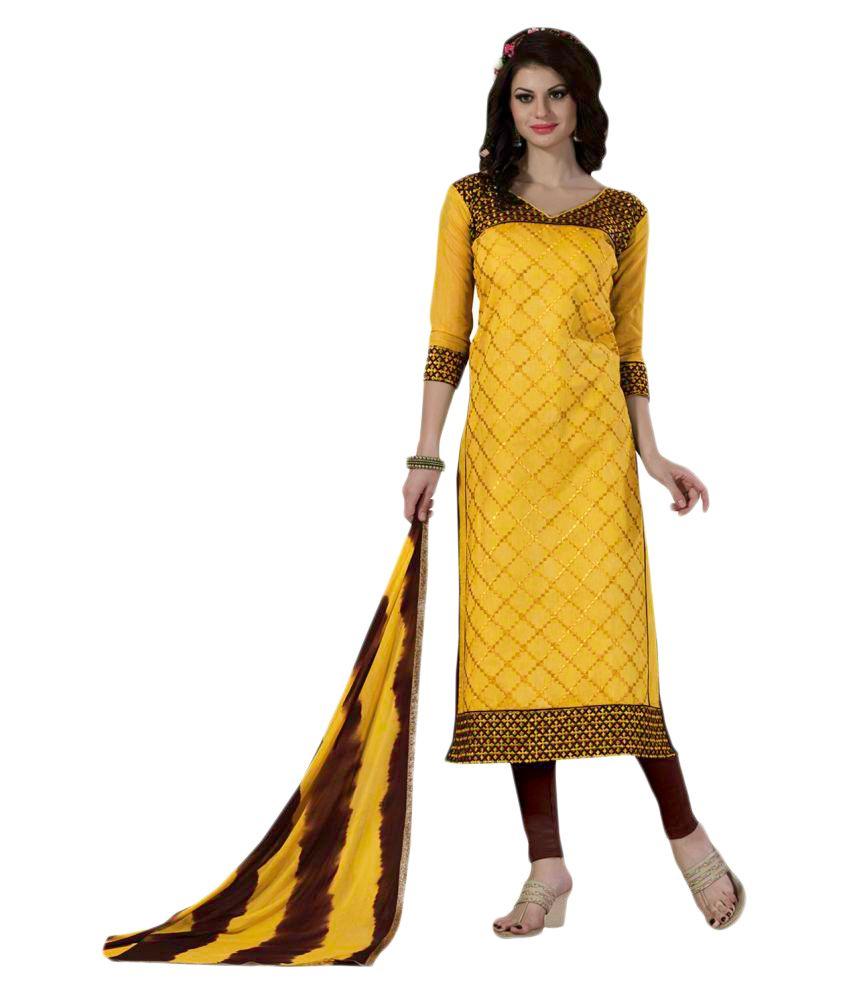 WALKNSHOP Yellow Cotton Blend Dress Material