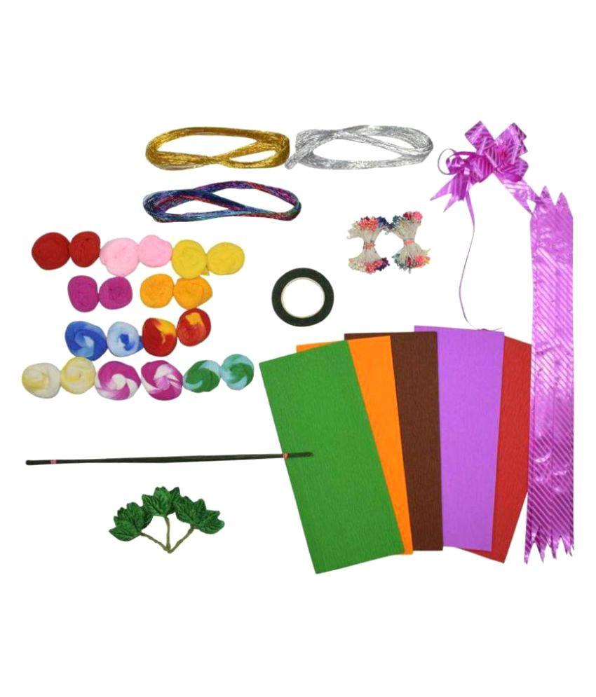 Duplex Crape Paper Flower Making DIY kit - Includes Crape Paper, Floral Tape, Golden & Green Tape Coated Wire, pollens, Leaves & Thread