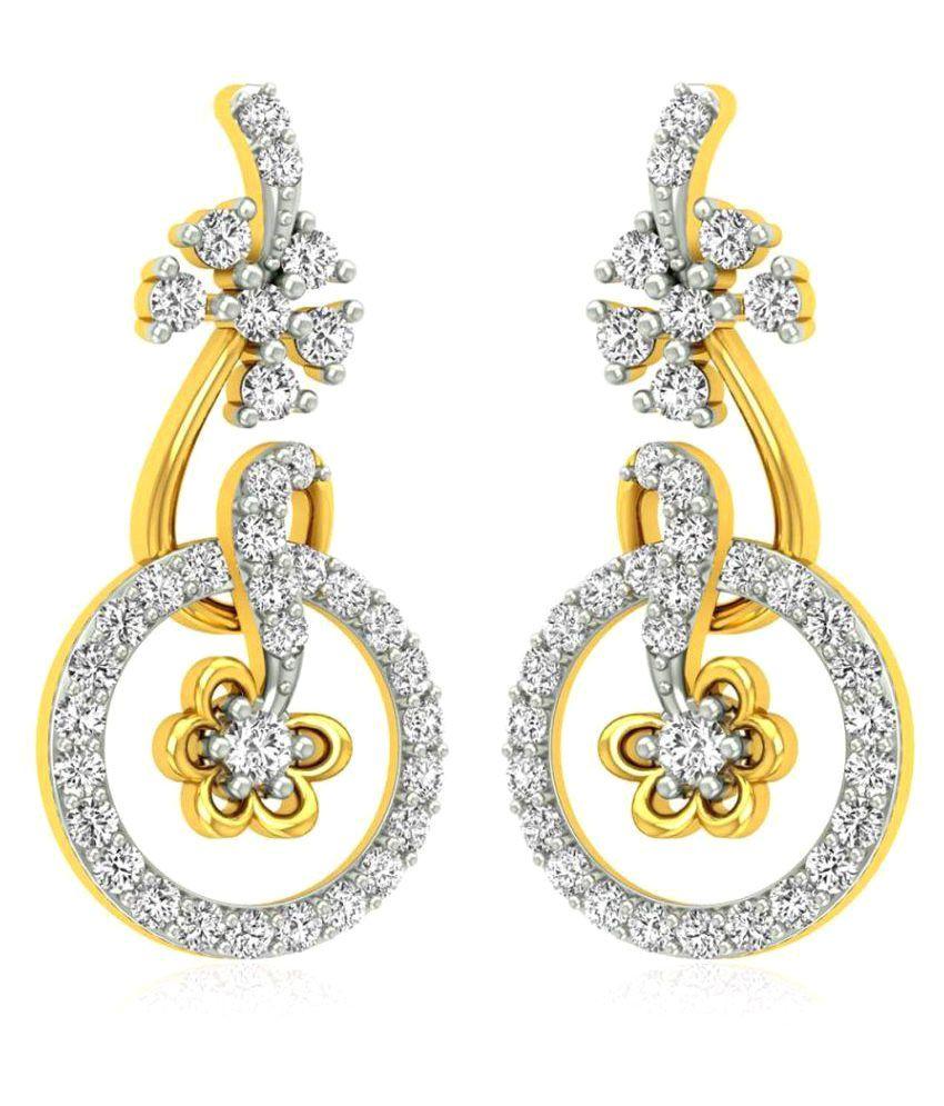 RockRush 18k BIS Hallmarked Yellow Gold Diamond Hangings
