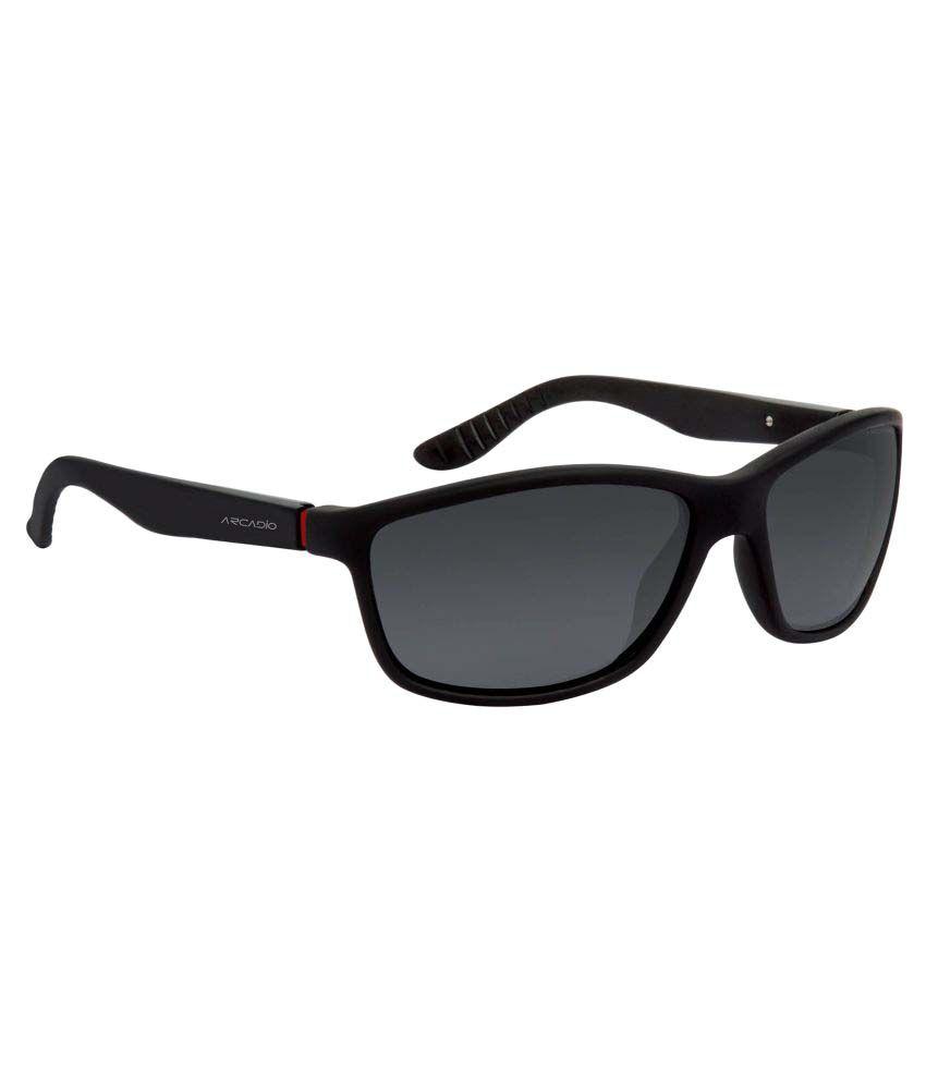 Arcadio Grey Wayfarer Sunglasses ( AAR181BK-GYP )